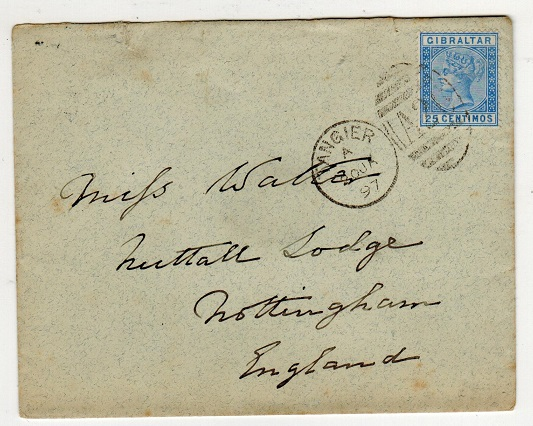 MOROCCO AGENCIES - 1897 Gibraltar 25c used on cover from TANGIER.  SG Z145.