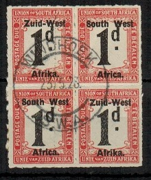 SOUTH WEST AFRICA - 1923 1d black and rose