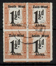SOUTH WEST AFRICA - 1923 1 1/2d black and yellow brown