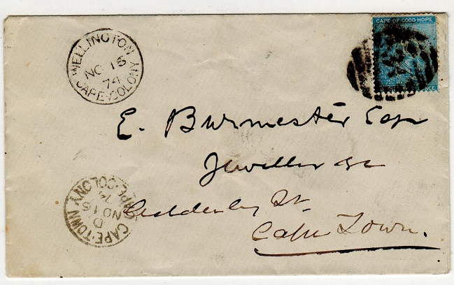 CAPE OF GOOD HOPE - 1874 4d rate local cover struck by