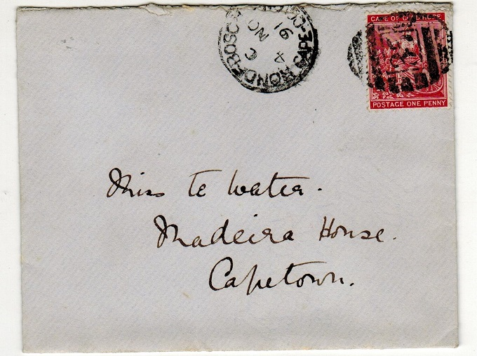 CAPE OF GOOD HOPE - 1891 1d rate local cover struck by