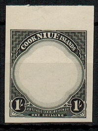NIUE - 1938 1/- IMPERFORATE PLATE PROOF in black of the frame and value tablet.