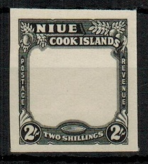 NIUE - 1938 2/- IMPERFORATE PLATE PROOF in black of the frame and value tablet.