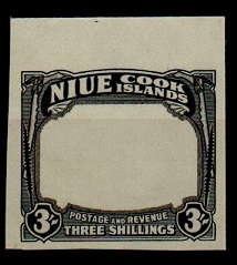 NIUE - 1938 3/- IMPERFORATE PLATE PROOF in black of the frame and value tablet.