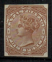 NATAL - 1874 4d IMPERFORATE PLATE PROOF in brown.