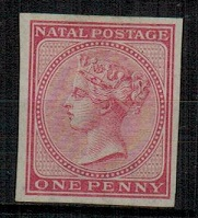 NATAL - 1874 1d IMPERFORATE PLATE PROOF in dull rose.