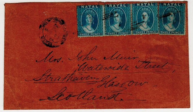 NATAL - 1866 1/- rate cover addressed to UK used at PIETERMARITZBURG.