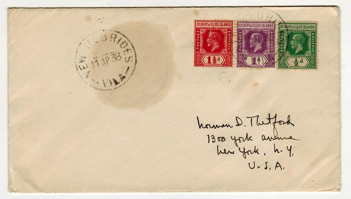 NEW HEBRIDES - 1938 cover to USA using Gilbert and Ellice adhesives at VILA.