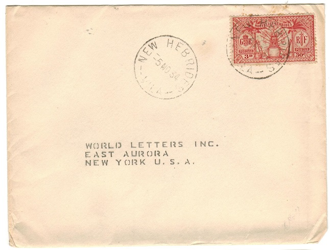 NEW HEBRIDES - 1934 cover to USA used at VILA.
