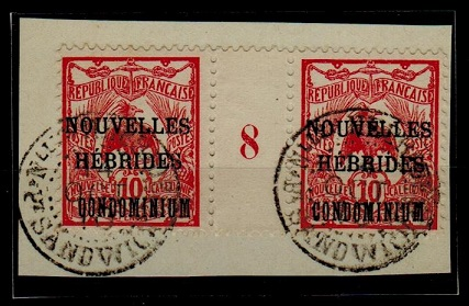 NEW HEBRIDES - 1910 10c red gutter plate pair used at PT.SANDWICH.