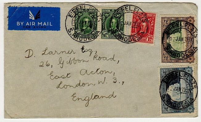 SOUTHERN RHODESIA - 1937 cover to UK used at EIFFEL FLATS.