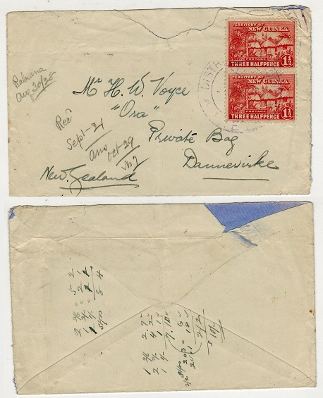 NEW GUINEA - 1928 3d rate cover to New Zealand cancelled by DISTRICT OFFICER/KIETA strike.