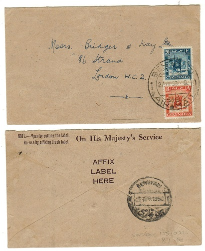 CYRENAICA EMIRATE - 1950 28m rate cover to UK used at BENGHAZI.