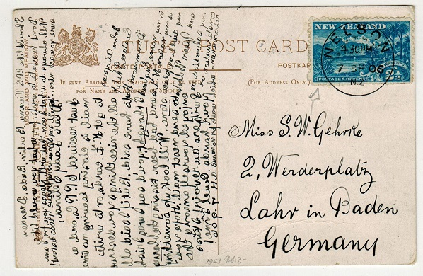 NEW ZEALAND - 1906 2 1/2d rate postcard use to Germany used at NELSON.