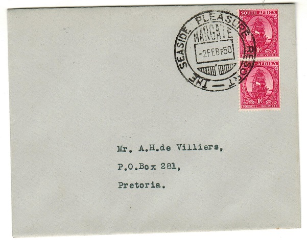 SOUTH AFRICA - 1950 2d rate local cover used at MARGATE.