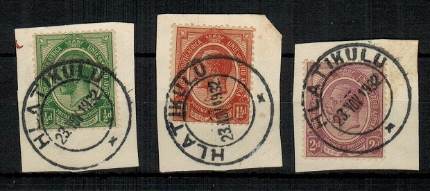 SWAZILAND - 1932 use of South African 1/2d, 1 1/2d and 2d adhesives at HLATIKULU.