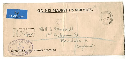 BRITISH VIRGIN ISLANDS - 1951 registered OHMS envelope to UK used at ROAD TOWN.