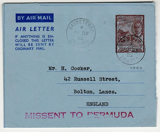 BERMUDA - 1952 misdirected MISSENT TO BERMUDA St.Kitts 12c air letter to UK.