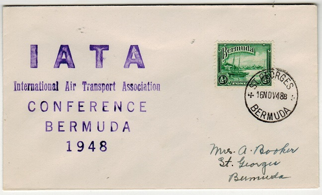 BERMUDA - 1948 1/2d internal letter rate cover struck with I.A.T.A./CONFERENCE cachet.