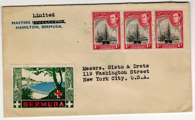 BERMUDA - 1942 3d rate cover to USA with BERMUDA/RED CROSS label applied.