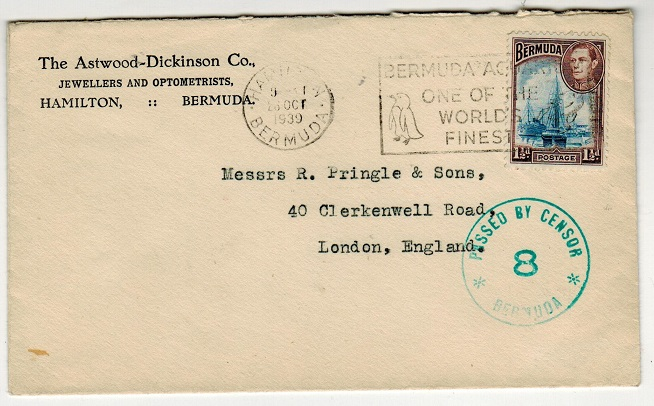 BERMUDA - 1939 1 1/2d rate cover to UK with PASSED BY CENSOR/8 strike applied in green.
