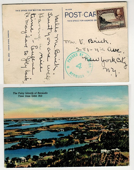 BERMUDA - 1943 1 1/2d rate postcard use to USA with PASSED BY CENSOR/4 strike applied in green.