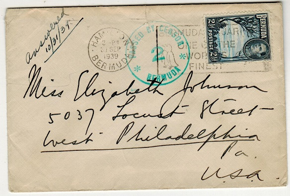 BERMUDA - 1939 2 1/2d rate cover to USA with PASSED BY CENSOR/2 strike applied in green.