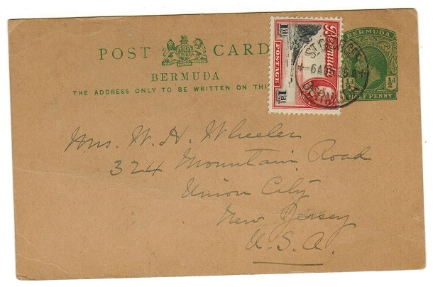 BERMUDA - 1912 1/2d green uprated PSC to USA used at ST.GEORGES.  H&G 14.