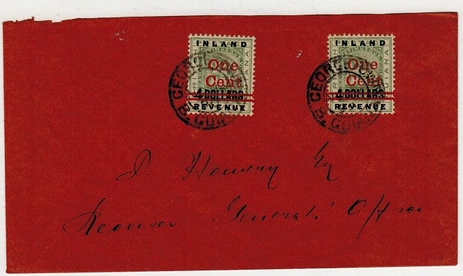 BRITISH GUIANA - 1890 1c on $4 surcharge local cover used at GEORGETOWN.