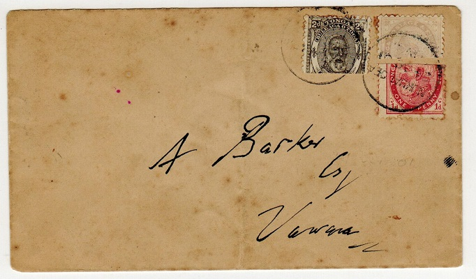 TONGA - 1901 three colour franking BI-SECT cover.