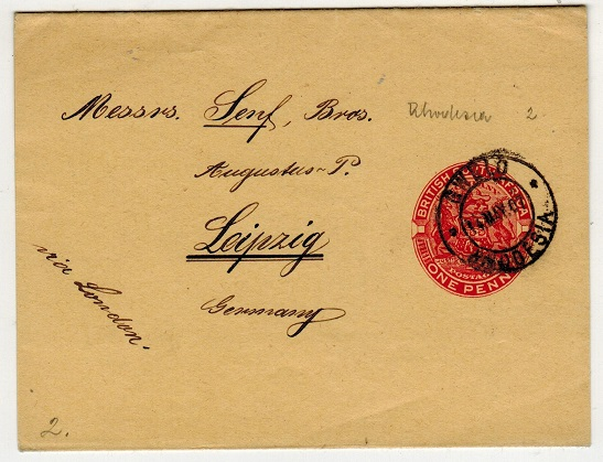 RHODESIA - 1904 1d red postal stationery wrapper to Germany used at GWELO.  H&G 2.