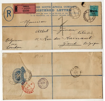 RHODESIA - 1893 4d ultramarine RPSE to Belgium uprated at GWELO.  H&G 1a.